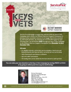 Service First Mortgage is supporting veterans with our Keys 4 Vets Campaign