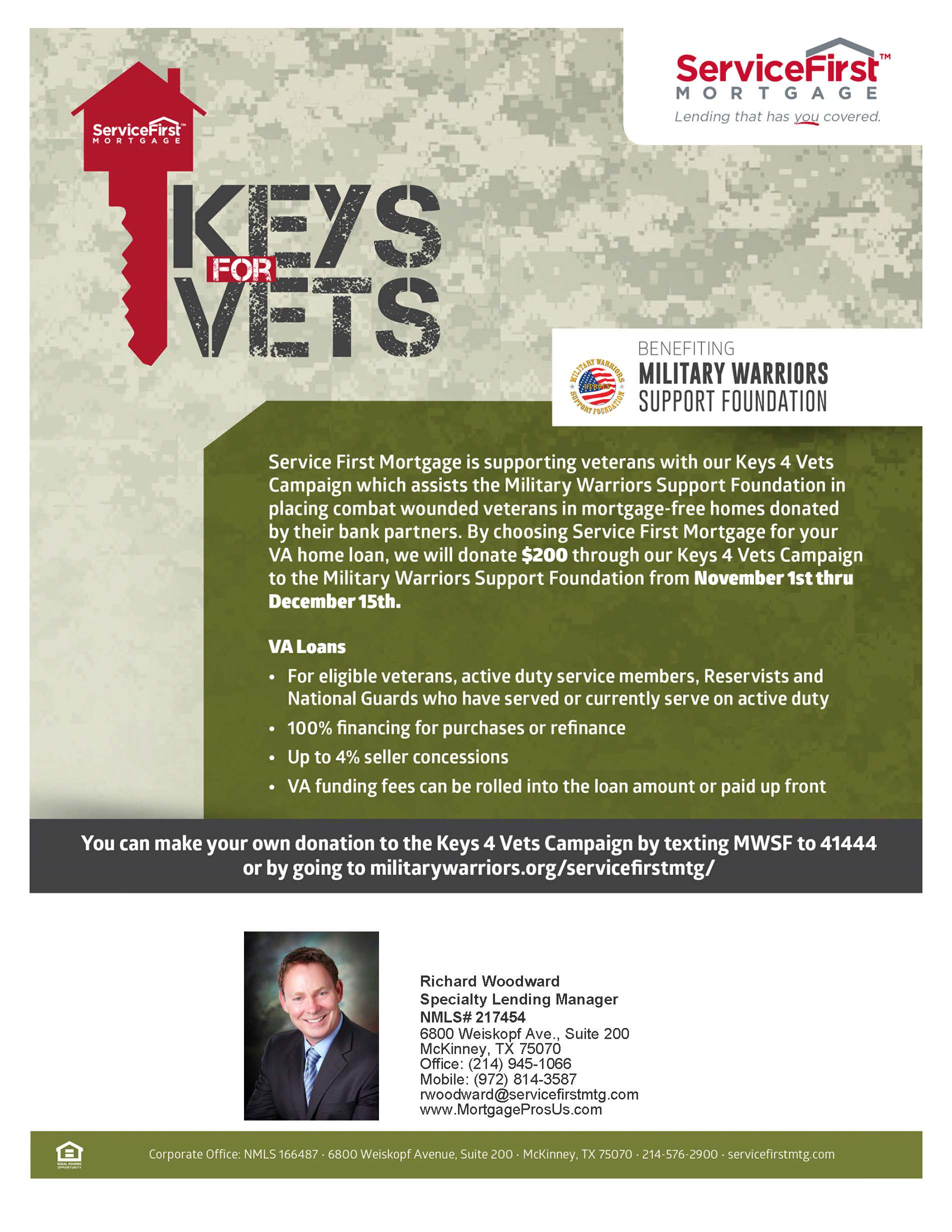 Va home loan texas richard woodward mortgage team service first mortgage is supporting veterans with our keys 4 vets campaign xflitez Choice Image