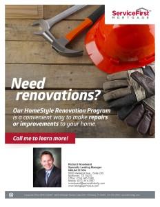 Homestyle Renovation Loans- Call The Richard Woodward Team at (214) 945-1066
