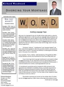 Divorcing Your Mortgage November 2017 Newsletter