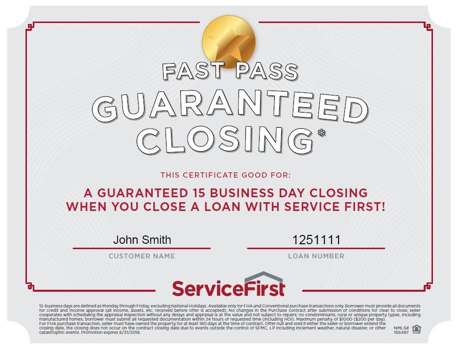 15 Business Day Closing Guarantee